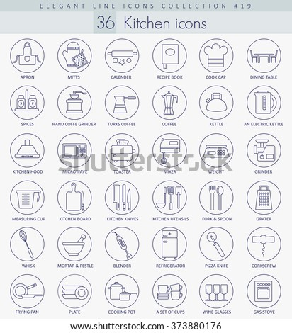 Vector kitchen outline icon set. Elegant thin line style design. - stock vector