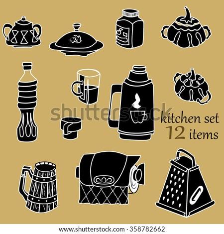 Vector kitchen set sugar bowl thermos stock vector for Kitchen set vector