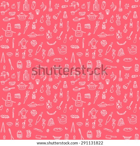 Vector kitchen stuff doodle seamless pattern. Hand drawn food background. High quality design element.