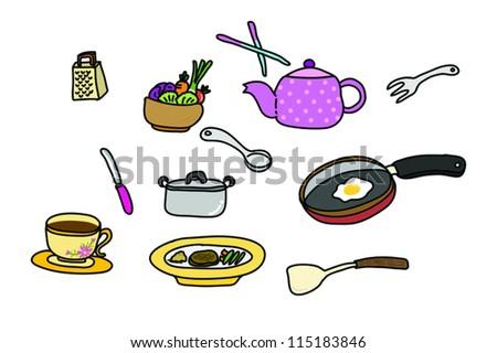Vector kitchen tools - stock vector