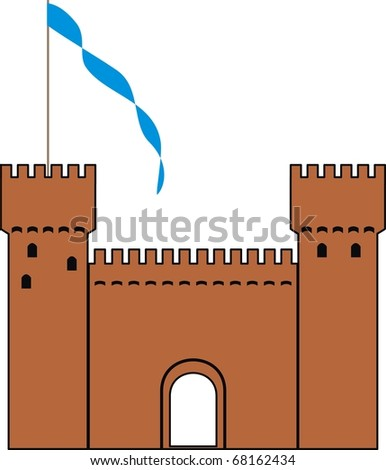 Vector  knight's castle of silhouette - isolated  illustration on white background - stock vector