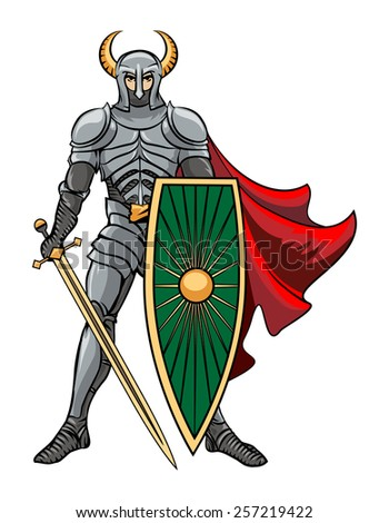 Vector Knight standing in a helmet with horns with shield and sword in a red cloak. Vector illustration - stock vector