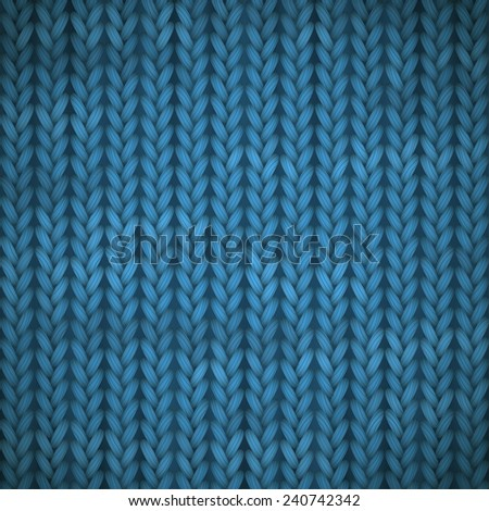 vector knitted background with blue stitches - stock vector