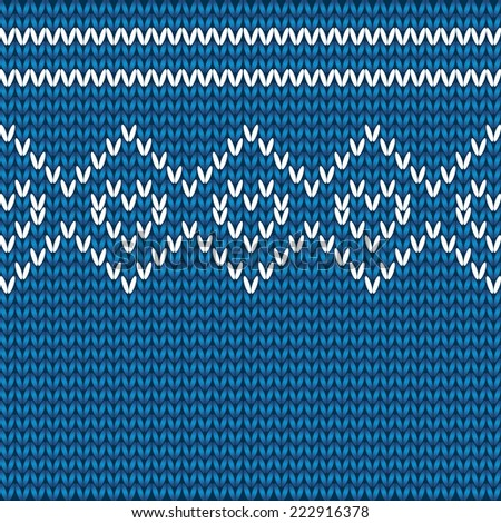 Vector Knitted Hearts Pattern On Blue Stock Vector 222916378