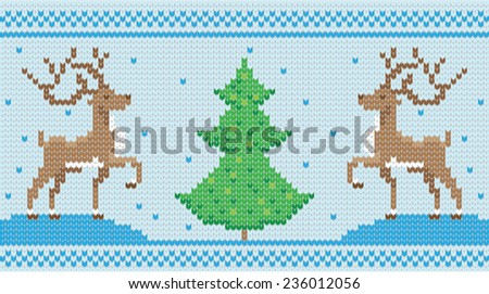 Vector knitted ornament with deers and Chrestmas tree - stock vector