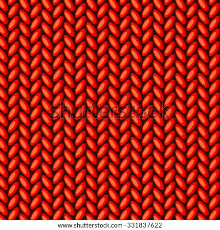 Vector knitted pattern design, detailed illustration. Winter sweater texture in red - stock vector
