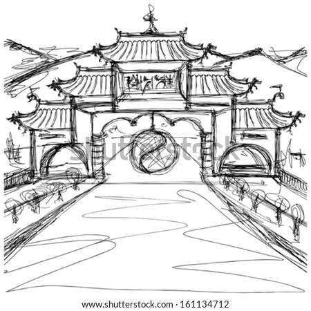 Vector Kung Fu Concept. Sketch background with china - stock vector