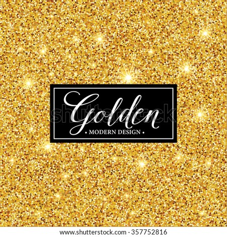 Vector label frame silhouette on the gold glitter background. Vector illustration EPS10 - stock vector
