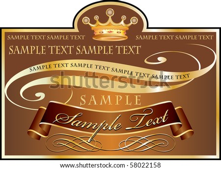 vector label in chocolate and golden colors, fully editable with sample text in separate layer - stock vector