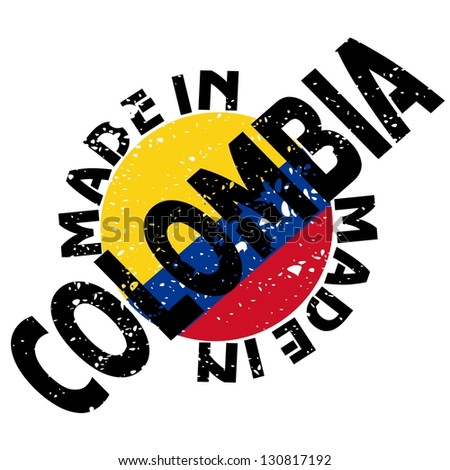 vector label Made in Colombia - stock vector