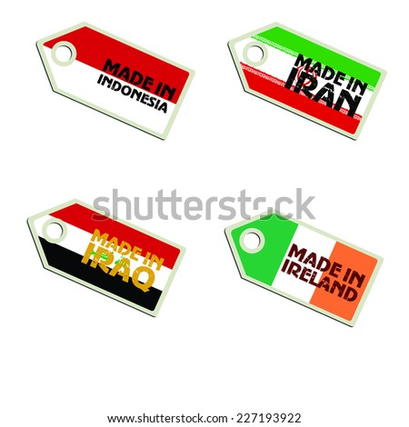 vector label Made in Indonesia, Iran, Iraq, Ireland,  - stock vector