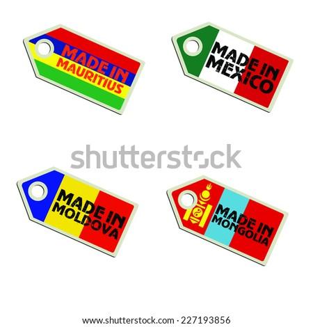 vector label Made in Mauritius, Mexico, Moldova, Mongolia,  - stock vector