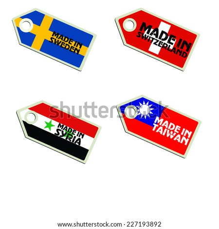 vector label Made in Sweden, Switzerland, Syria, Taiwan,  - stock vector