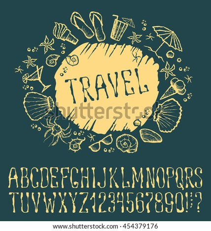 Vector label with hand made font. With inscription Travel - stock vector