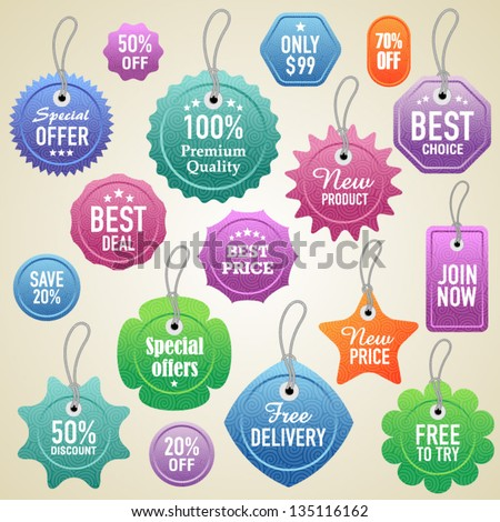 Vector labels and tags set 3