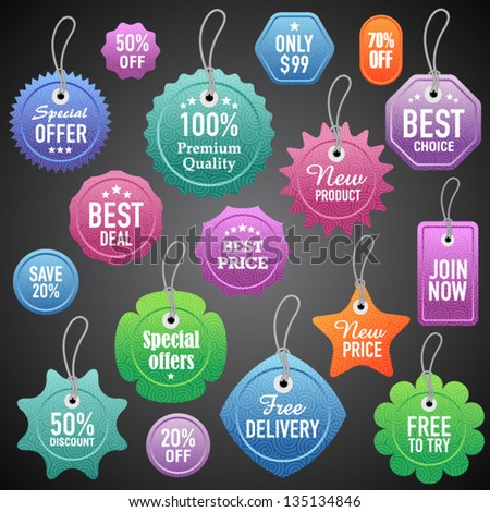 Vector labels and tags set 4