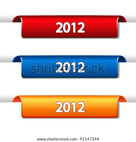 Vector 2012 Labels - bended tape on the web page - stock vector