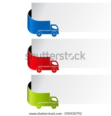 Vector labels - delivery method, free delivery, fast delivery, truck - stock vector