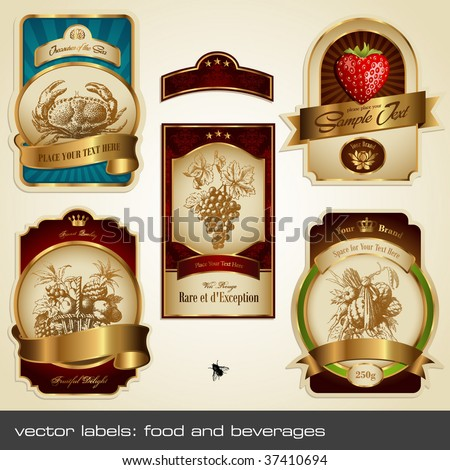 vector labels: food and beverages - stock vector