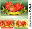 vector labels for products of strawberry - stock vector