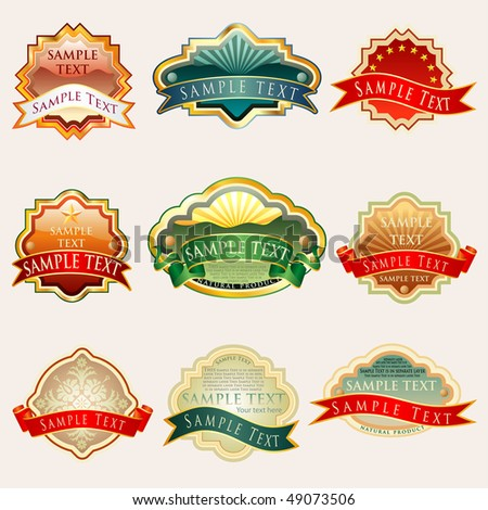 vector labels for various products with sample text in separate layer - stock vector