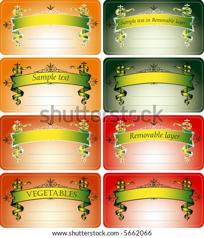 vector labels for vegetables, fruits, drinks etc. in glass, for home and industrial usage with space for hand drawing - stock vector