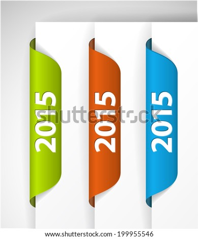 Vector 2015 Labels / Stickers on the edge of the (web) page - green, blue, red