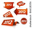 Vector 2012 Labels, stickers, pointers, tags for your (web) page - stock vector