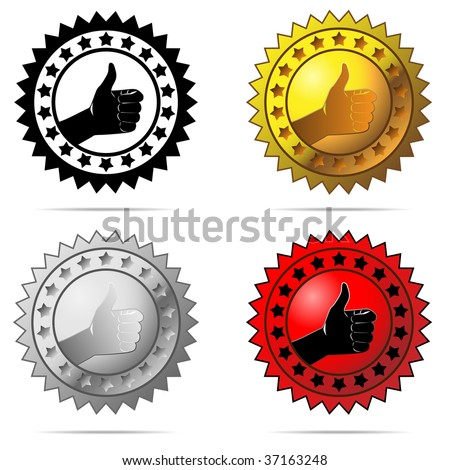 Vector labels with thumb up sign isolated on white background. - stock vector