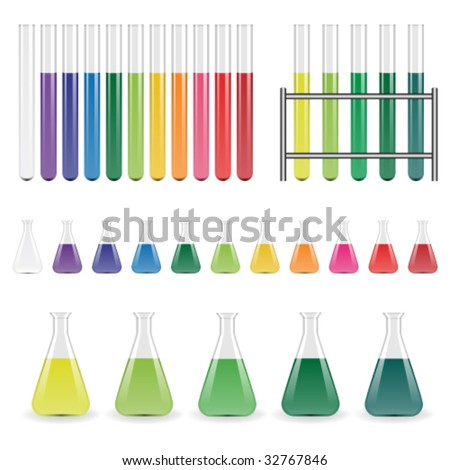 vector laboratory flasks and test tubes - stock vector