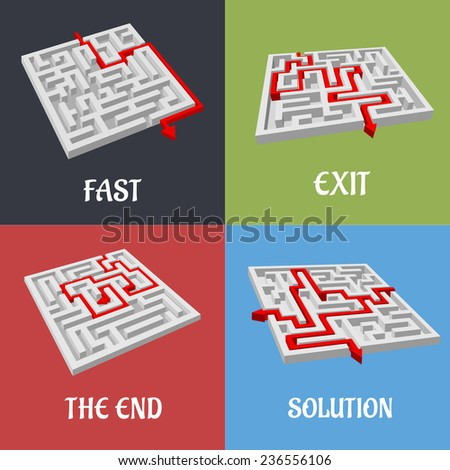 Vector labyrinth puzzles with solutions shown by red arrows winding through the maze labeled Fast, Exit, The End, Solution with four variations on colorful square backgrounds - stock vector