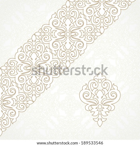 Vector lace border in Victorian style. Ornate element for design and place for text. Ornamental pattern for wedding invitations and greeting cards. Traditional decor. - stock vector