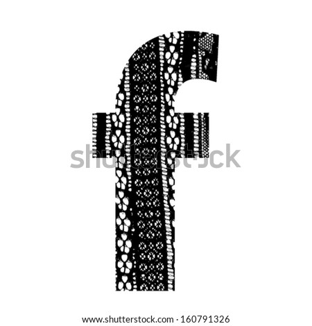 Vector lace font - letter f - stock vector