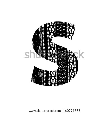 Vector lace font - letter s - stock vector