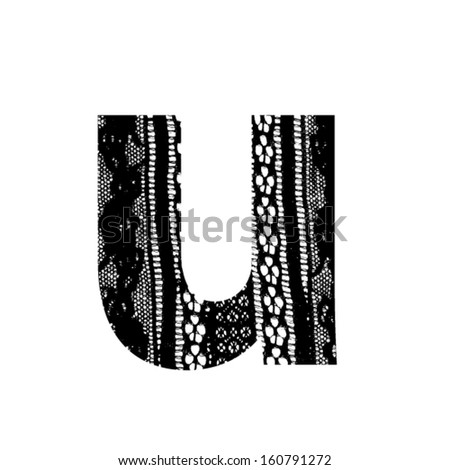 Vector lace font - letter u - stock vector