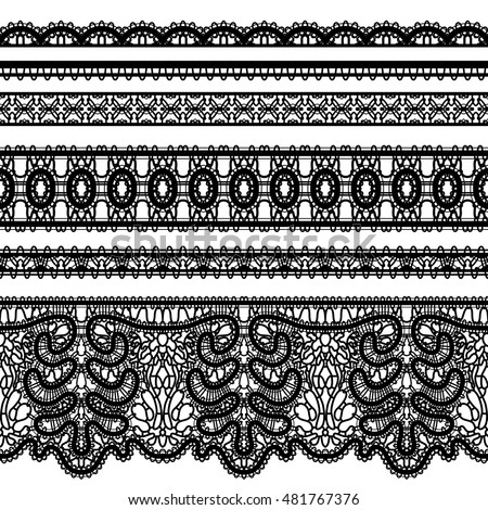 Vector lace ribbons, set of ornamental tulle borders on white
