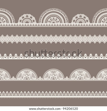 Vector lace set Seamless borders - stock vector