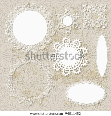 vector lacy scrapbook napkin design patterns on seamless grungy background - stock vector