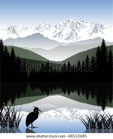 vector lake with a heron in mountains - stock vector