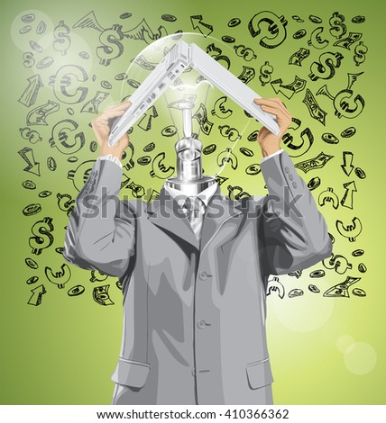 Vector lamp head business man hides under the laptop in his hands against money sketch - stock vector