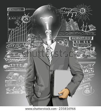 Vector lamp head business man in suit with laptop in his hands - stock vector