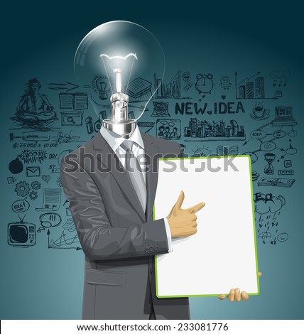 Vector lamp head businessman holding empty write board in his hands - stock vector