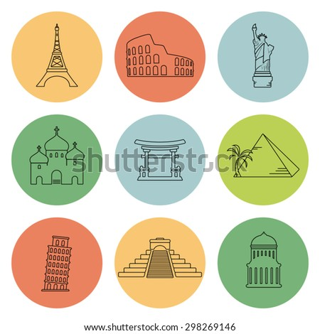 Vector landmarks thin icons - stock vector