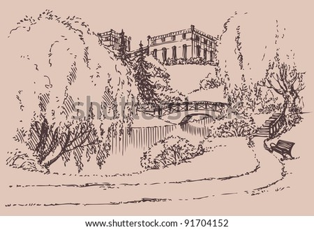 Vector landscape. Bench near the stairs to the bridge across the creek in the palace park - stock vector