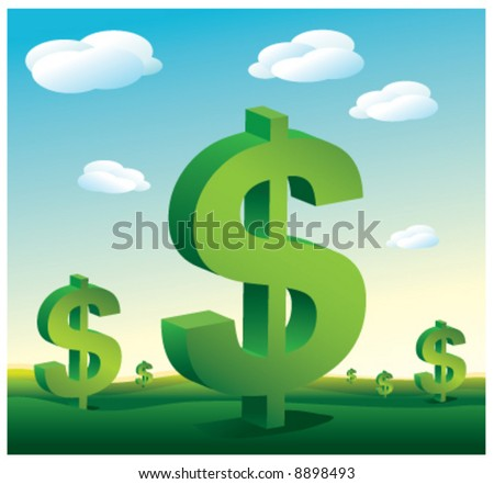 Vector landscape dollar signs - stock vector