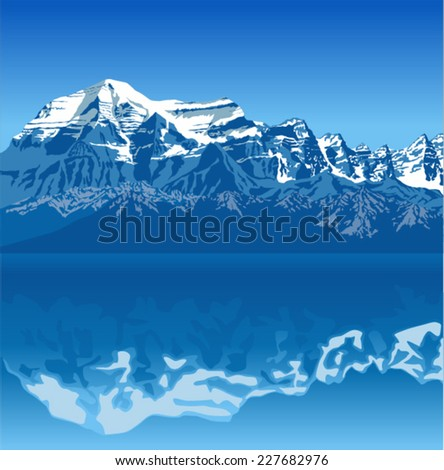 vector landscape of high mountain with lake and high peaks - stock vector