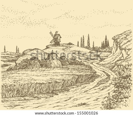 Vector landscape. Old windmill on a hill above the river, surrounded by fields of wheat - stock vector