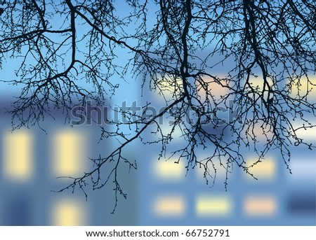 Vector landscape. Openwork silhouette of the descending branches on a background of luminous windows - stock vector