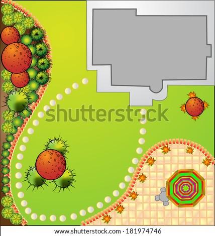 vector Landscape Plan with treetop symbols - stock vector