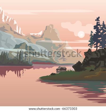 vector landscape. Sanrise in mountains. - stock vector